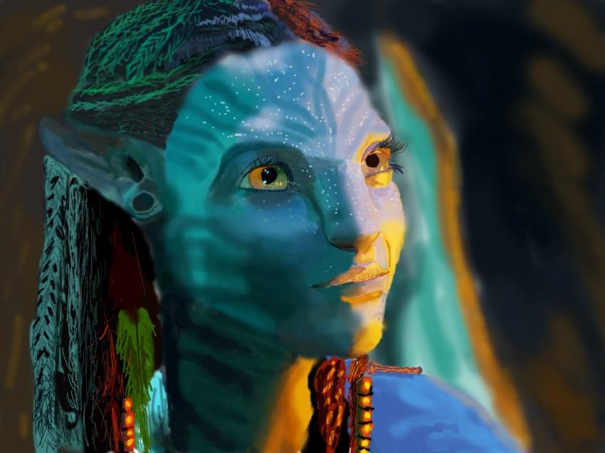Portrait Of Zoe Saldana Avatar Film By Fireman2000 On
